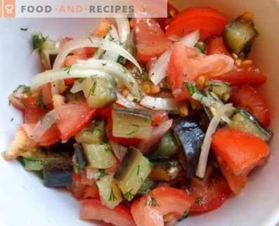 Ensaladas con berenjenas y tomates