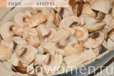 Repollo cocido con champiñones en el horno