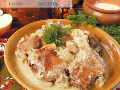 Duck stewed in sour cream