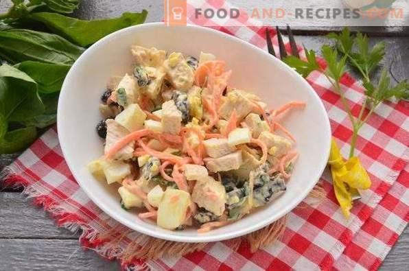 Ensalada de pollo, ciruela y zanahoria coreana
