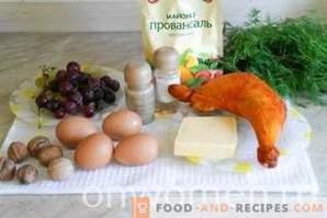 Ensalada Tiffany con pollo y uvas