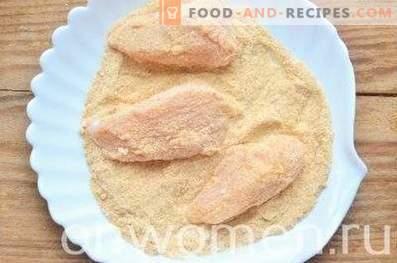 Pechuga de pollo al horno en pan rallado