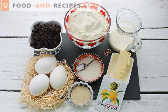 Pastel de levadura real con pasas en una máquina para hacer pan según la receta de nuestras abuelas