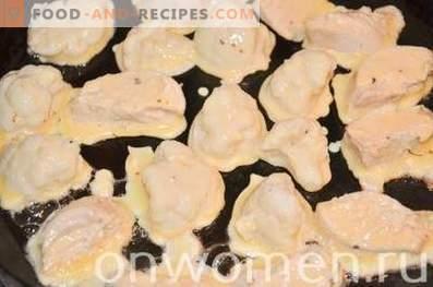 Coliflor con pollo en masa