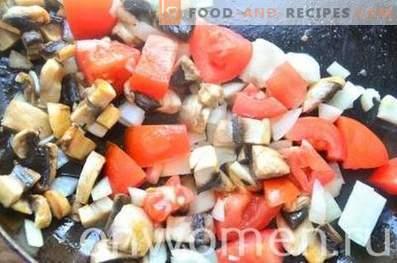 Salsa de champiñones con tomate y aceitunas