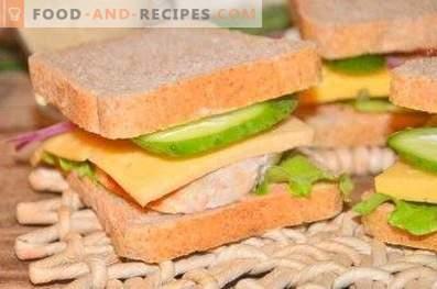 Пилешко, сирене и зеленчуков сандвич