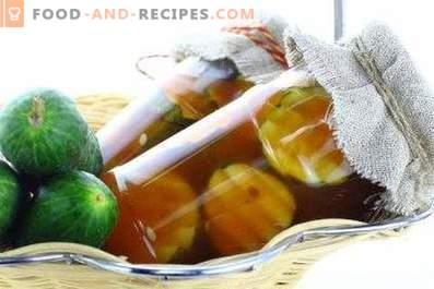 Pepinos con salsa de tomate de Chile para el invierno