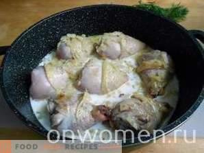 Pollo guisado en leche