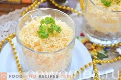 Schichtsalat mit Leber, Ei und Käse