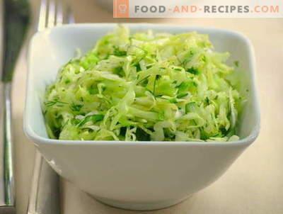 Ensaladas de col y pepino - cinco mejores recetas. Cómo cocinar correctamente y sabroso las ensaladas con col y pepinos.